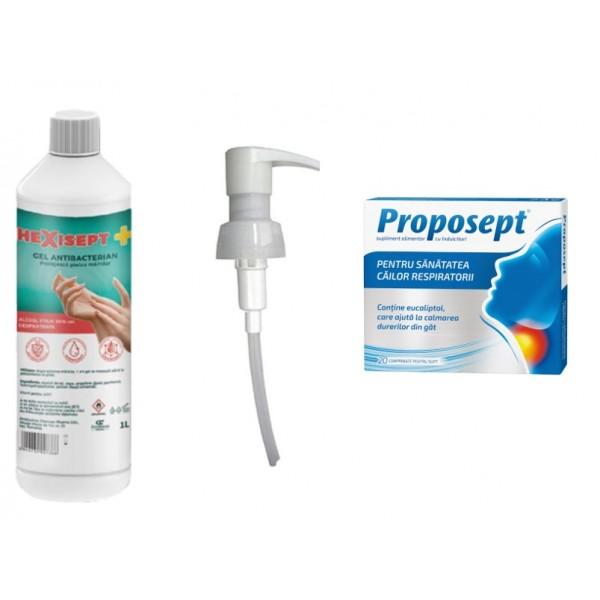 HEXISEPT+ GEL ANTIBACTERIAN 1L + POMPITA DOZATOARE GRATUIT + PROPOSEPT 20 CAPSULE