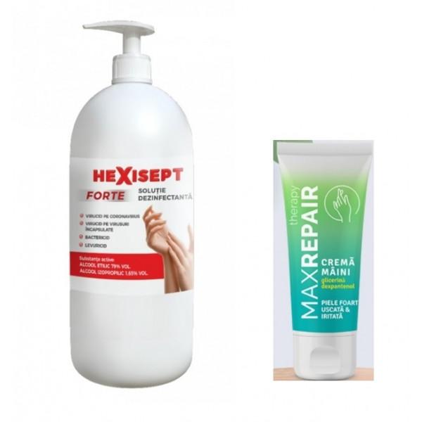 HEXISEPT FORTE 1L dezinfectant maini 80% alcool + MAXREPAIR crema de maini cu glicerina 50ml