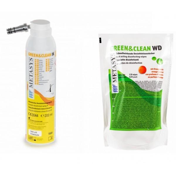 Green&Clean IK spray dezinfectant pentru piese de mana si contraunghi (universal) Metasys + Grean&Clean WD 120 buc servetele dezinfectante refill