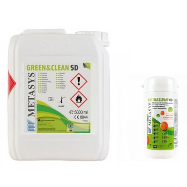 Green&Clean SD 5l dezinfectant spray cu alcool pentru suprafete Metasys + cutie servetele dezinfectantate  WD 120 buc gratuit