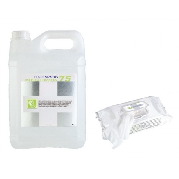 Dento Viractis 75 dezinfectant pentru suprafete 5l + servetele dezinfectante pop-up 100 buc