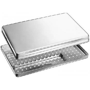 Casoletă sterilizare cu capac perforat, fund perforat şi cardu de fixare, 285x185x40mm